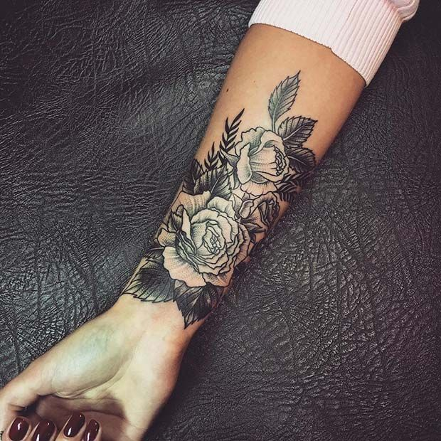 Rose Arm Tattoo For Badass Tattoo For Women Wrist Tattoos For Women Flower Wrist Tattoos Tattoos For Women Flowers