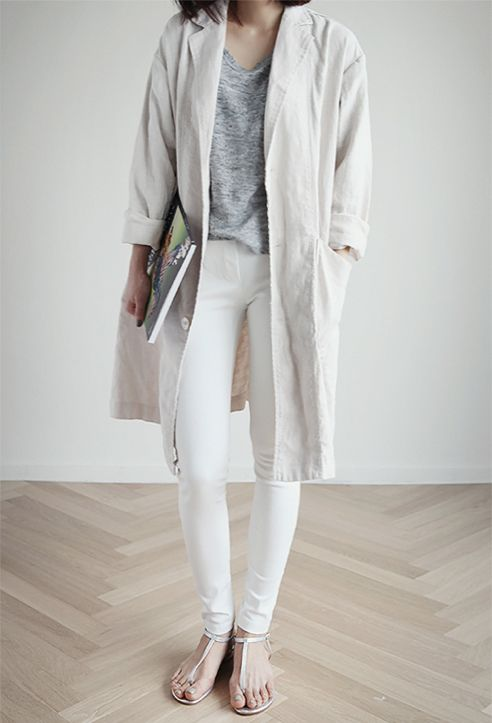Perfect spring look, white, creme and grey