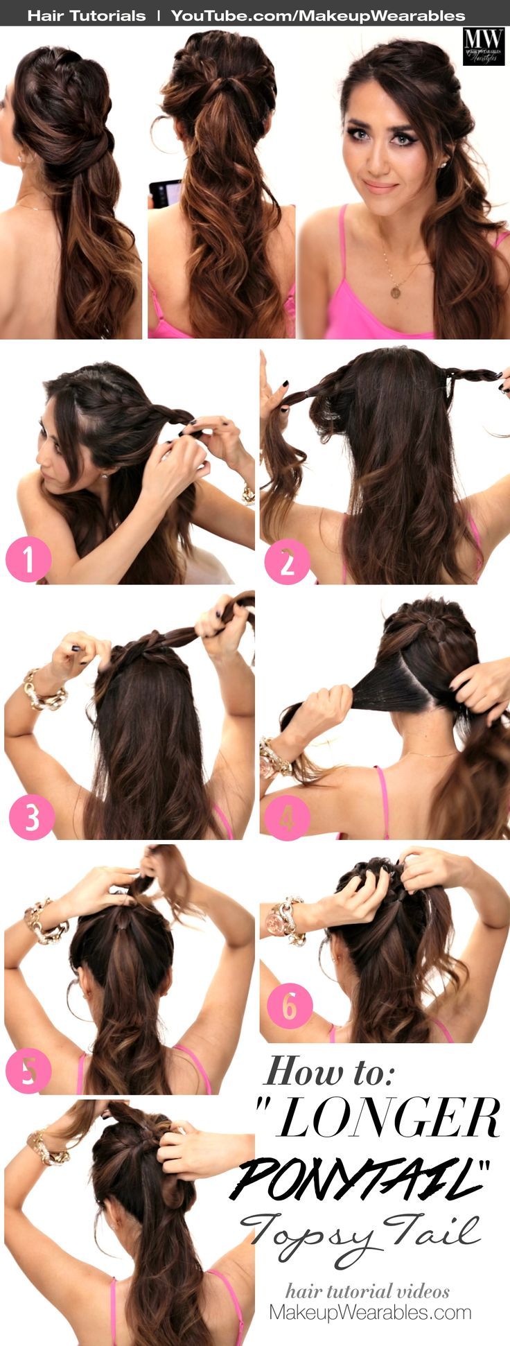 4 Lazy Girl's Easy #Hairstyles   How to Cute #Braids + Messy #Buns #style #styles #hair #beauty #longhair #ponytail #updos #hairstyle