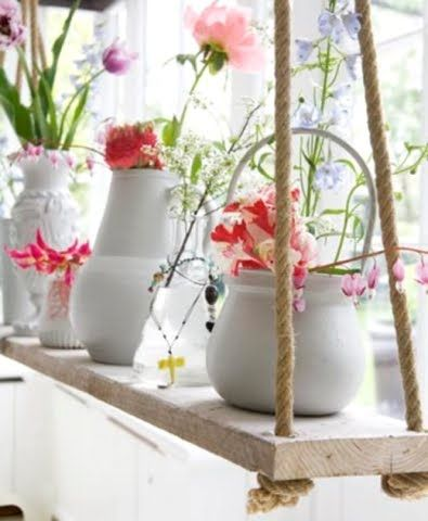 To make my cats stop eating my plants!!!! DIY Hanging Rope Shelf Ideas