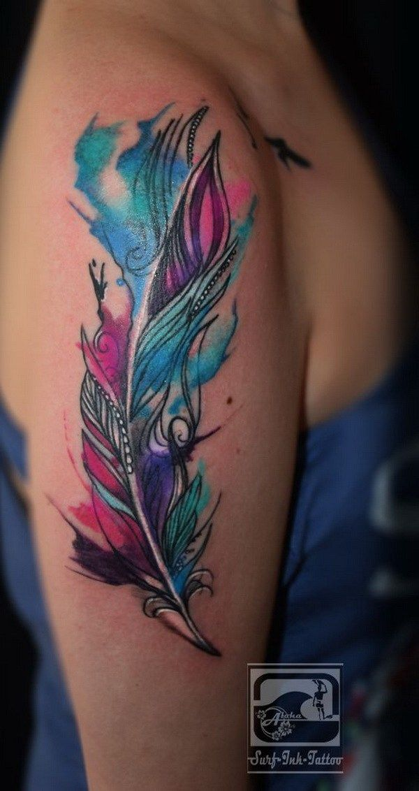 Feather Watercolor Tattoo on Arm.