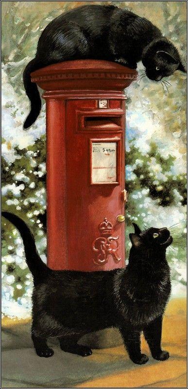 "Two black cats by Chrissie Snelling * * "" DIDJA MAIL DE LETTER?"" CAT ON TOP: "" WUT LETTER? """