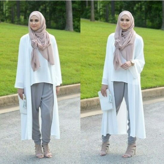white long cardi, Classy hijab outfits http://www.justtrendygirls.com/classy-hijab-outfits/