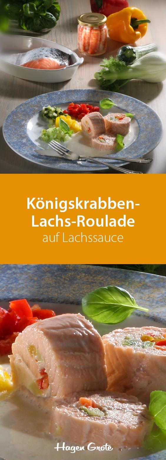Königskrabben-Lachs-Roulade auf Lauchsauce