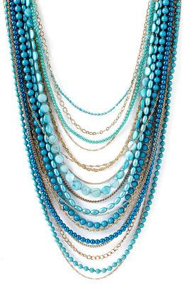 Sequin Beaded Long Multi Strand Necklace - Lovely Layered Necklaces