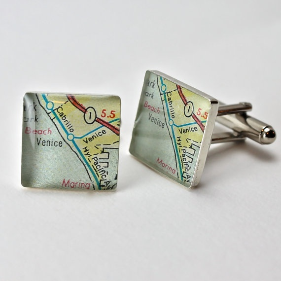 Venice Beach California Vintage Map Sterling Silver by dlkdesigns, $50.00