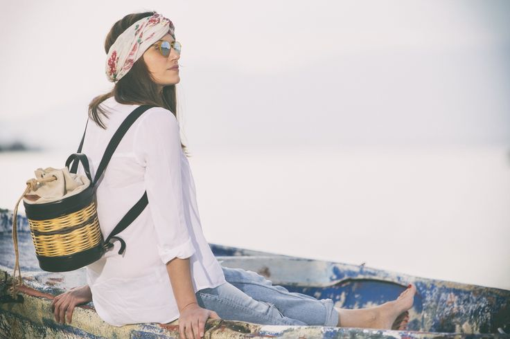 Basket Leather Backpack - Mosaic - Greek Designers - Made in Greece - Naxos Island - Cyclades of Greece - Boat Photography - Sandy Beach - Sunset - Summer Outfits