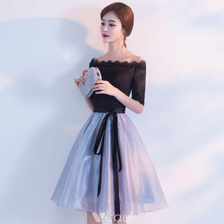 Chic / Beautiful Homecoming Graduation Dresses 2017 Black Sky Blue A-Line / Princess Knee-Length Off-The-Shoulder Backless 1/2 Sleeves Sash Lace Formal Dresses