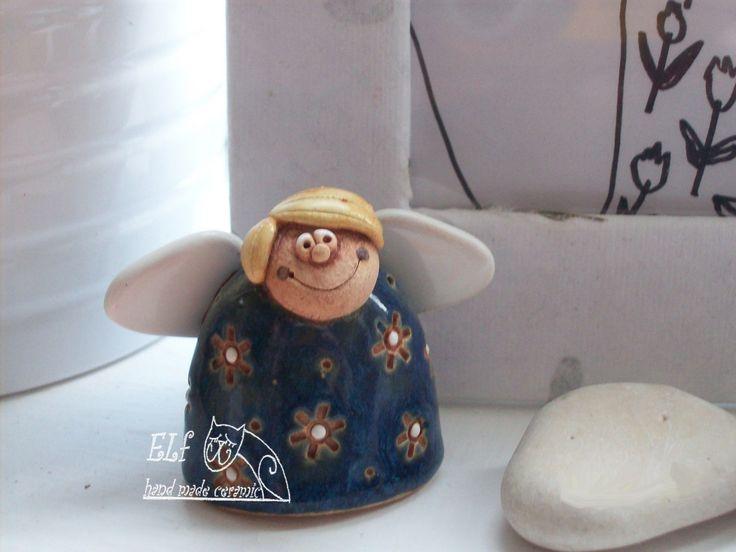 andílek Matýsek Keramický rušně modelovaný zvoneček ,glazovaný barvami s efekty.Milý dáreček pro každou příležitost. výška...4,5cm