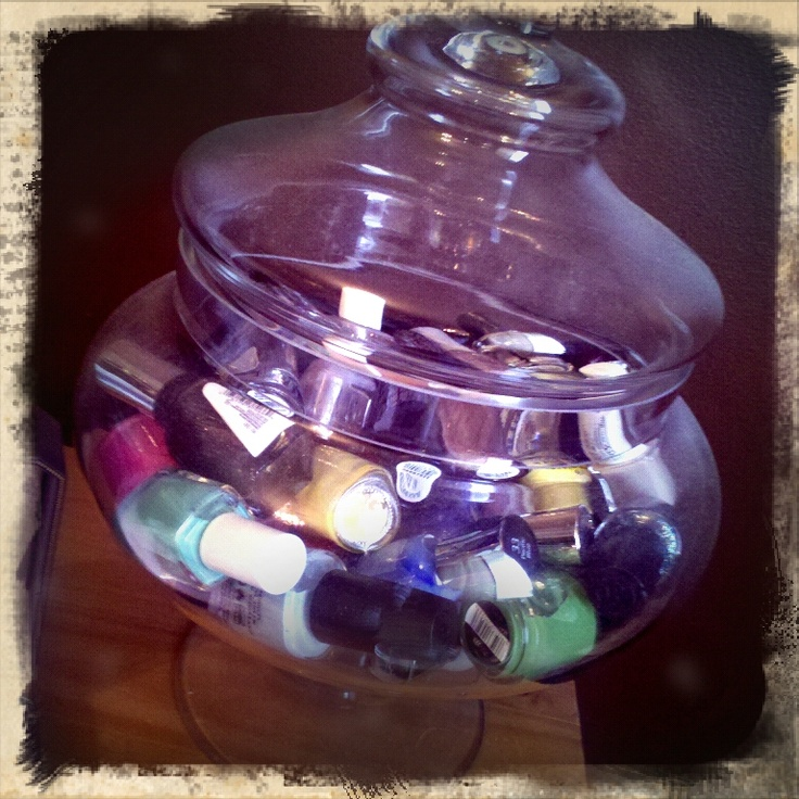my friends cute idea to store her nail polish! she got the jar from hobby lobby