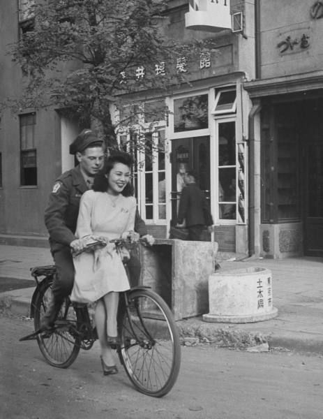 Bicycle Ride Between American Solider and Girlfriend, Japan 1946 by John Florea (via LIFE)