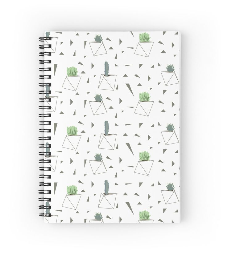 Succulents and Triangles Spiral Notebook by DoucetteDesigns