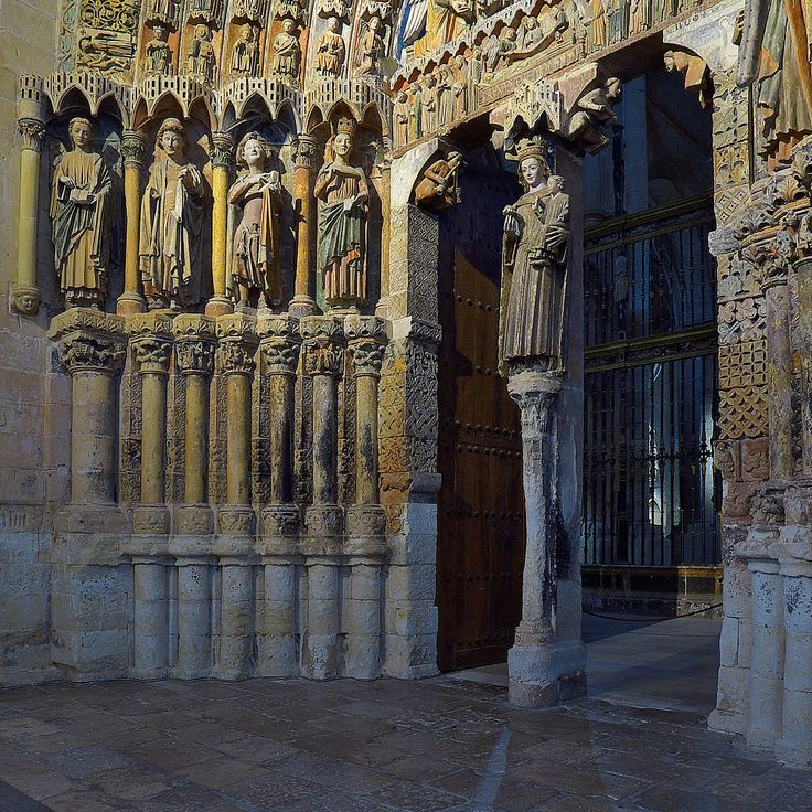 The Collegiate church of Santa María la Mayor (Church of Saint Mary the Great) Toro,Zamora, Spain.Notable is the Majesty Portico (Pórtico de la Majestad), which houses the southern entrance. It was built in the reign of Sancho IV of Castile and León (1284-95), and is decorated with polychrome sculptures depicting scenes of the life of the Virgin, Christ and the Final Judgement.