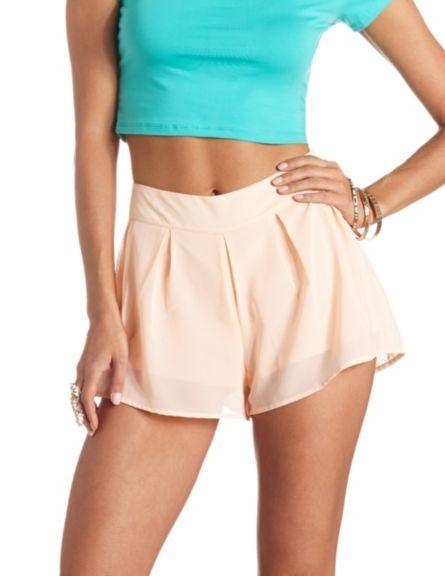 Pleated Chiffon High-Waisted Shorts: Charlotte Russe