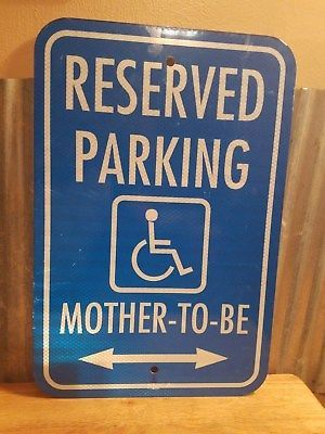 Reserved Parking Handicap Mother To Be Bright Blue Reflective Metal Sign