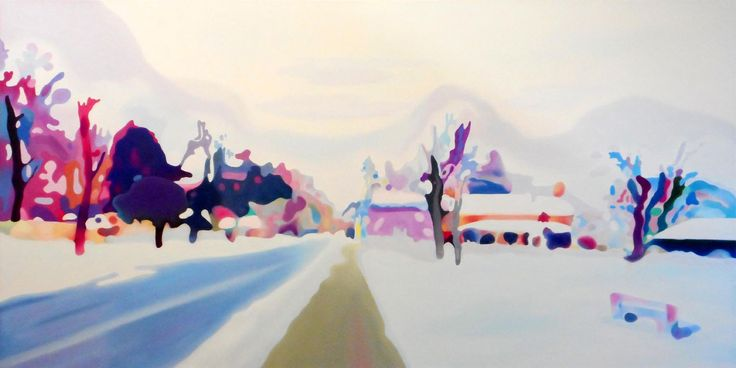 SILENCE AFTER THE SNOW, WINCHESTER STREET OIL ON CANVAS 36x72 in.
