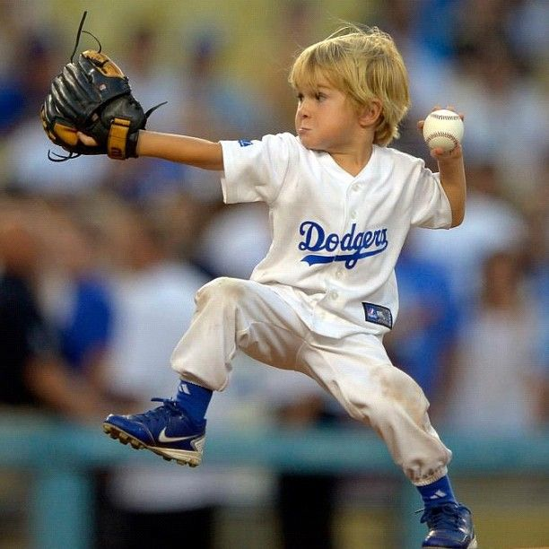 Christian Haupt, 4-year-old baseball phenom threw out the first pitch at the Dodgers game last night.