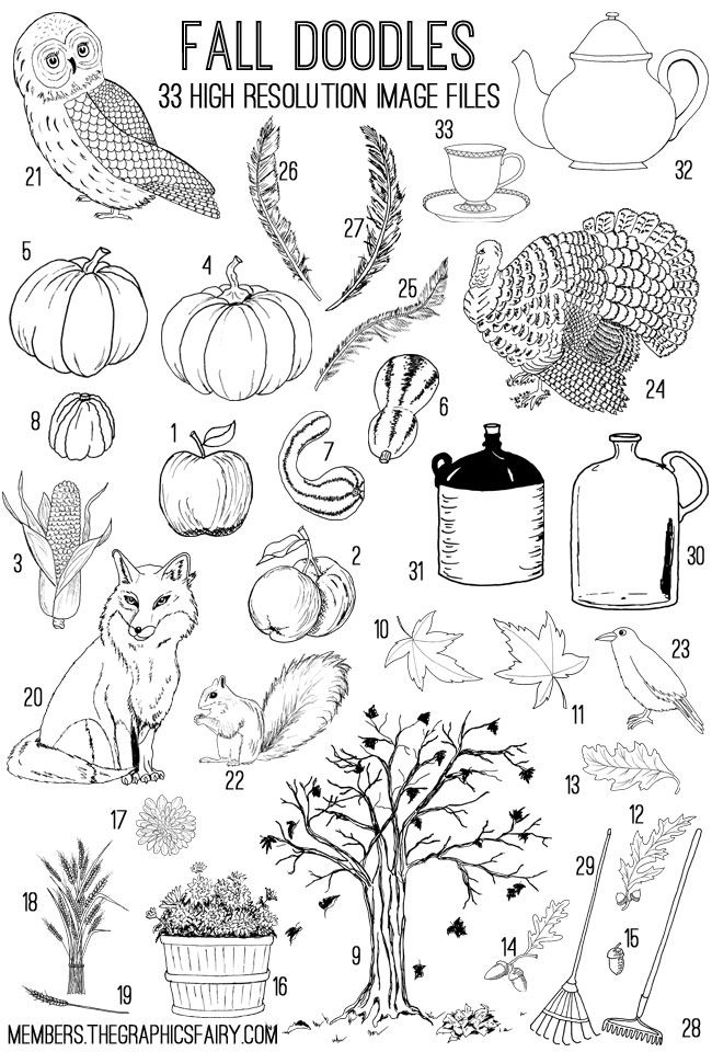These hand drawn Fall Doodles were created by me for The Graphics Fairy.