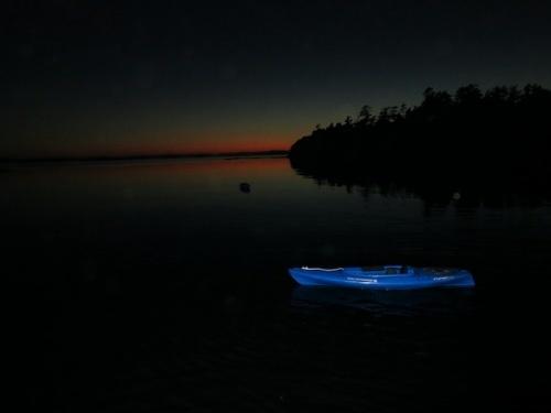 Midnight kayaking off Sucia Island in the San Juans.