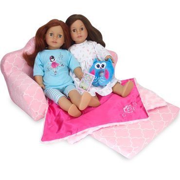 """18"""" Doll Furniture Pull Out Sofa Double Bed fits American Girl Doll Furniture"""