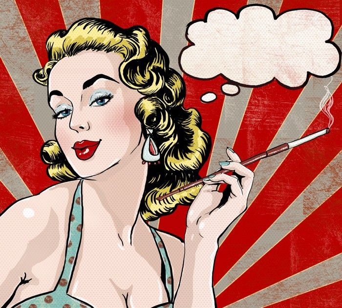 Smokin' Hot Lady Pop Art Painting from $39.99 | http://www.wallartprints.com.au/ #PopArtPrints #WallArtPrints