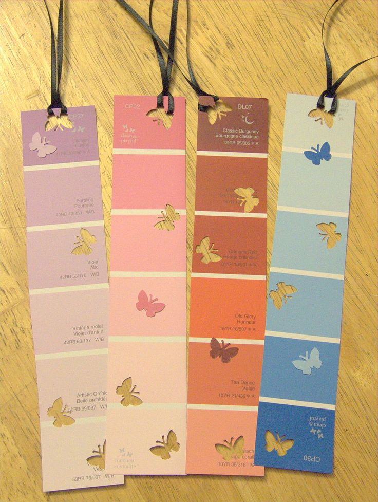 Bookmarks from paint sample cards