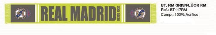 BUFANDA REAL MADRID AMARILLO GRIS Este artículo lo encontrará en nuestra tienda on line de complementos www.worldmagic.es info@worldmagic.es 951381126 Para lo que necesites a su disposición