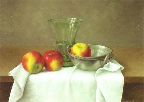 Barbara Vanhove - Three Apples with a Glass