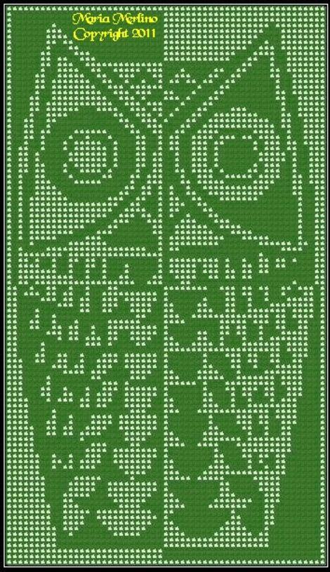 Modern Owl Curtain Wall Panel Chart In Filet Crochet Stitch Free Pattern MoEZ