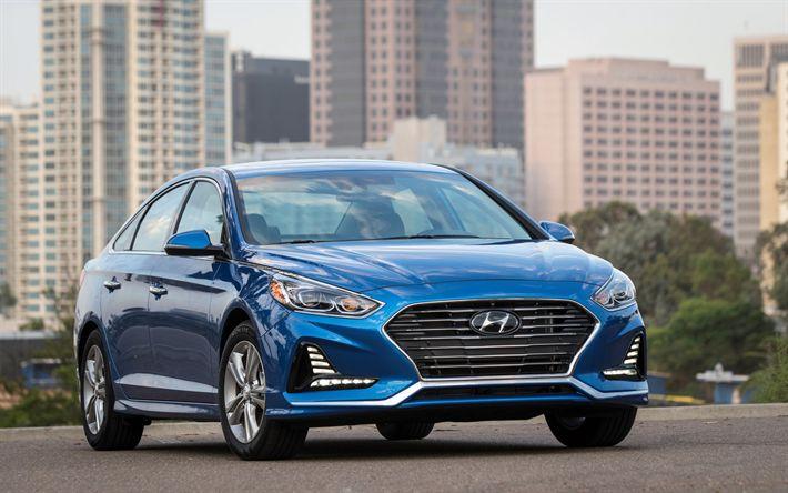 Descargar fondos de pantalla Hyundai Sonata, 2018 coches, automóviles, coches coreanos, azul Sonata, Hyundai