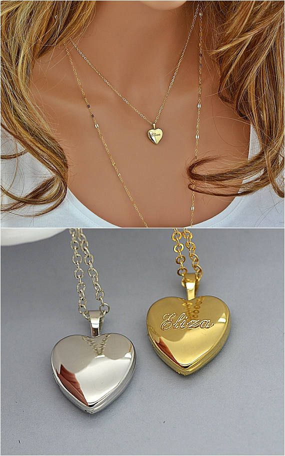 Check out Locket Necklace, Name Locket Necklace, Personalized Heart Locket Necklace Gold or Silver, Engraved Locket, Locket Pendant on malizbijoux