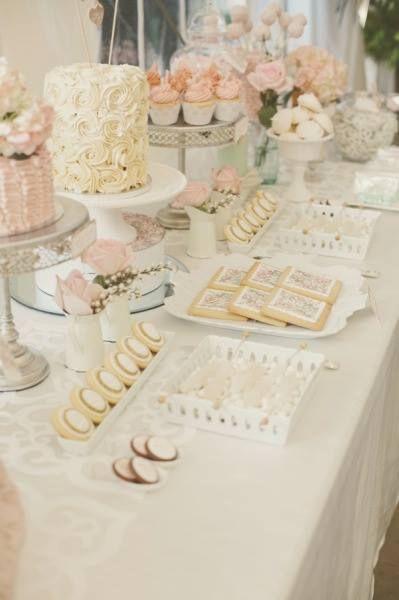 Gold and White Wedding. Wedding Reception Dessert Buffet. Vintage Dessert Table   www.stylemepretty.com