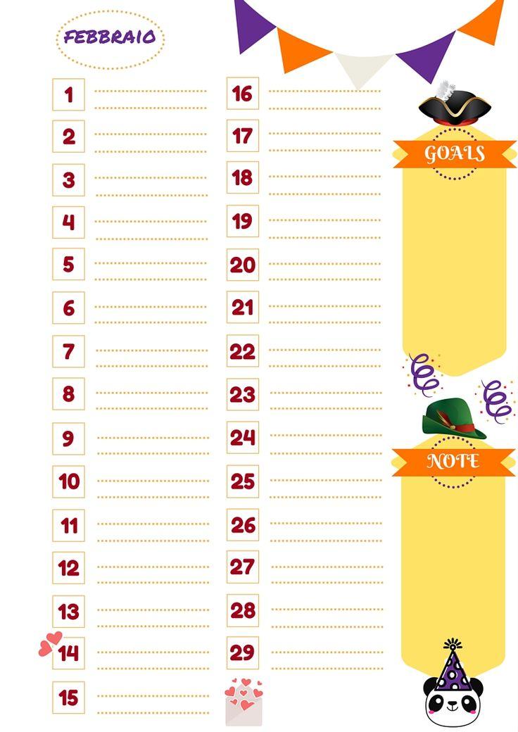 Nata disorganizzata: Refill gratuiti per l'agenda: il mese di febbraio da stampare