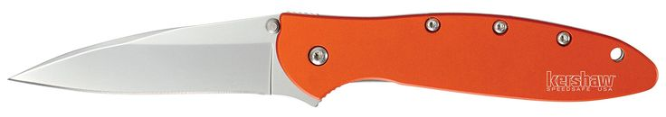 Kershaw 1660OR Leek Folding Knife (Orange) with SpeedSafe. Made in the USA. Bead-blasted finish-Handle: 6061-T6 anodized aluminum-. Blade length: 3 in. (7.5 cm)-Closed length: 4 in. (10.3 cm)-Overall Length: 7 in. (17.9 cm)-Weight: 2.4 oz. (68 g). Made in the USA; Speed Safe assisted opening; Liner lock; Reversible (tip-up/tip-down) pocket clip. Steel: Sandvik 14C28N, bead-blasted finish. Handle: 6061-T6 anodized aluminum. Blade length: 3 Inch (7.5 cm); Closed length: 4 Inch (10.3 cm);...