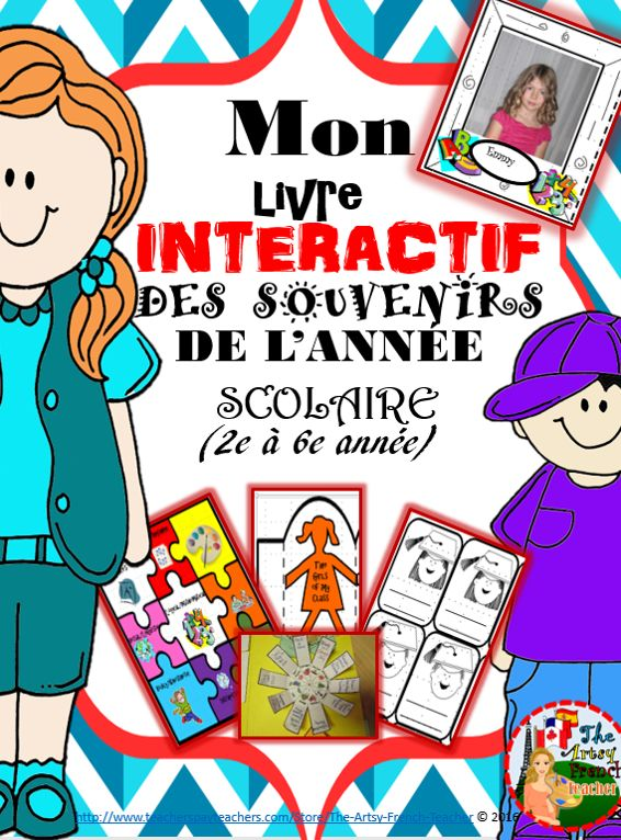 Mon Livre Interactif des Souvenirs de L'Année Scolaire, 2e à 6 {25+ foldable templates} and 40 adaptable pages to create a keepsake memory book for your grade. Check out the great clip art and fun foldables. Adaptable for independent work, small groups or whole group activities. Give your students something to remember you by! TPT $ (English version available)