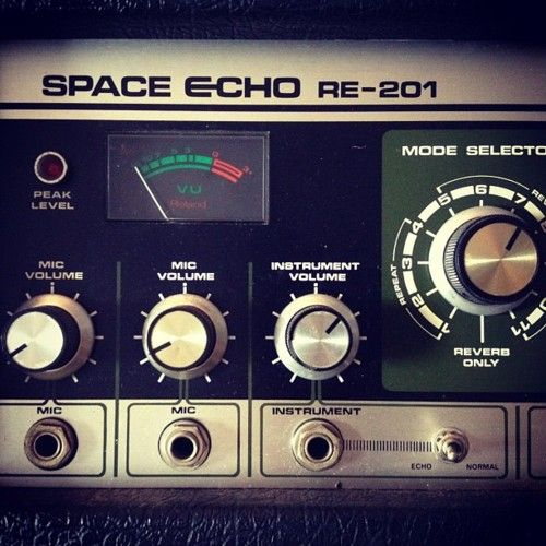 Space Echo - vintage tape looping machine ~ not a synthesizer but a perfect companion for any electronic instrument - even the much newer digital floor pedal version is nice