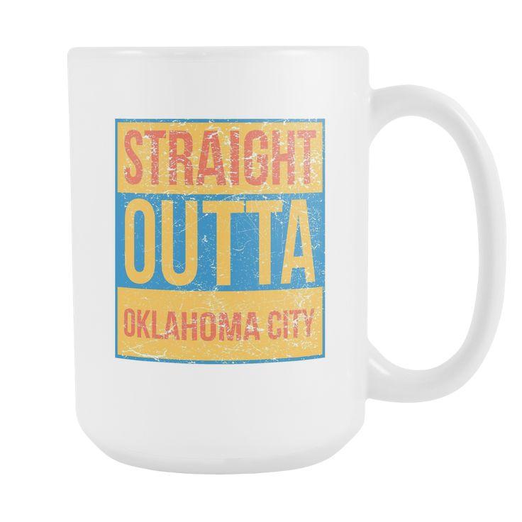 Straight Outta Oklahoma City Basketball Coffee Mug, 15 Ounce