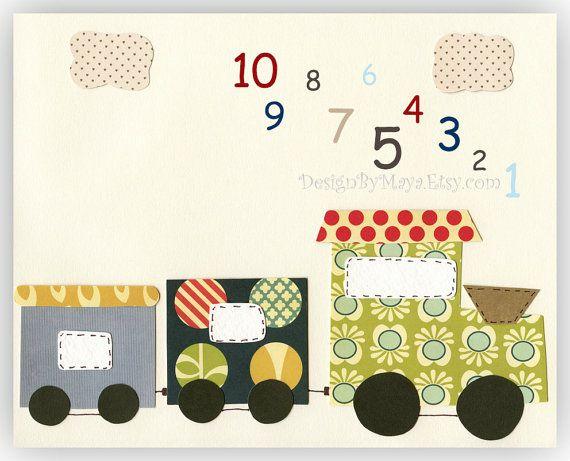 Baby Room Nursery Decor Art for kids train Vintage by DesignByMaya, $17.00