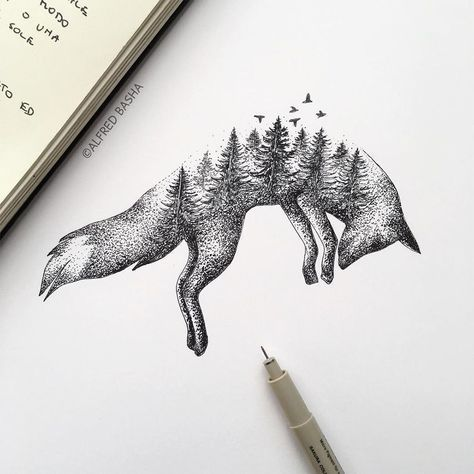 He creates surprising illustrations that mix nature and animals