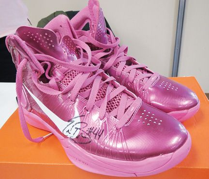 A pair of pink basketball shoes will be on the Relay for Life of Butler County Silent Auction this year. The shoes, worn by former North Butler and UNI Women's basketball star Erin Brocka, have been donated by Marlin and Marty Mullinx.