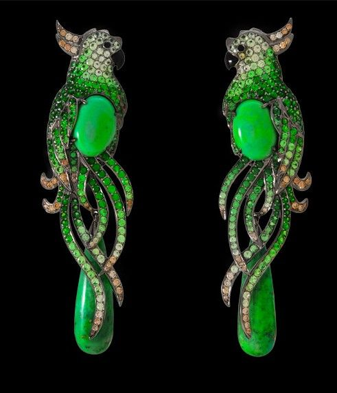 Lydia Courteille Onyx Tsavorite and Turquoise Parrot Earrings