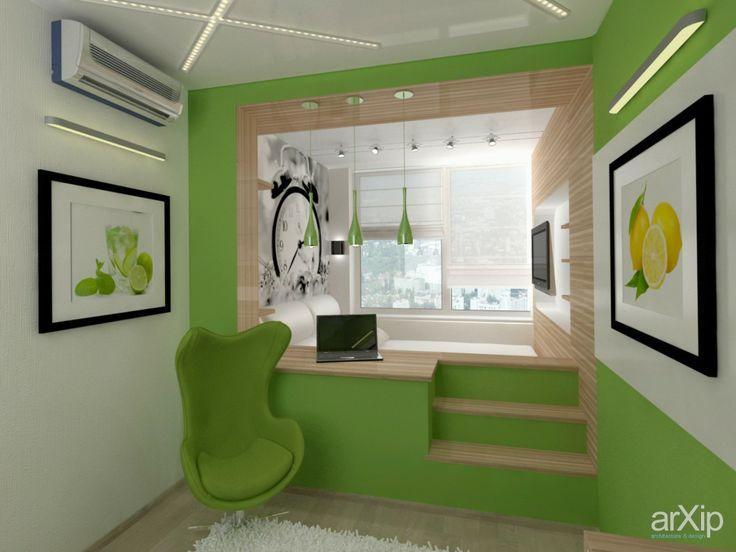 Дизайн спальни в зеленых тонах: интерьер, квартира, дом, спальня, современный, модернизм, 10 - 20 м2 #interiordesign #apartment #house #bedroom #dormitory #bedchamber #dorm #roost #modern #10_20m2 arXip.com