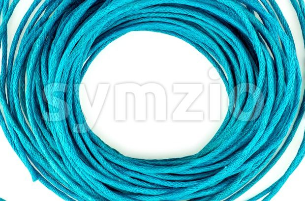 Stock photo of Circular loops of bright blue from $1.99. Circular loops of bright blue rope wire isolated against white...