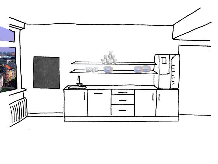 Skitser til køkkenfaciliteter