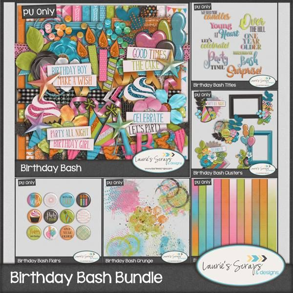 Birthday Bash Digital Scrapbook Bundle. This is perfect for your Birthday and party layouts