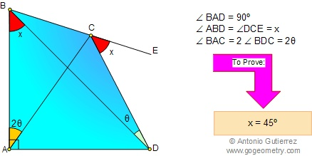Geometry  Problem 33. Triangle,  Quadrilateral, Angle, 45 Degrees. Level: High School, College, Math Ed.
