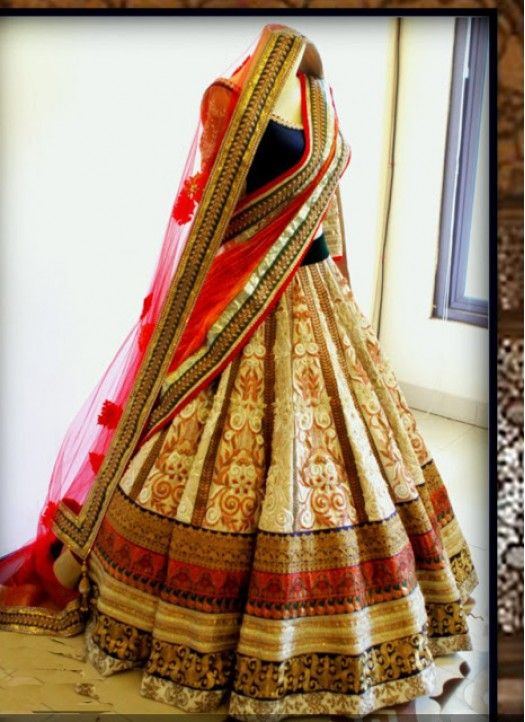 Kreckon Multi Colour Bridal Lehenga Choli