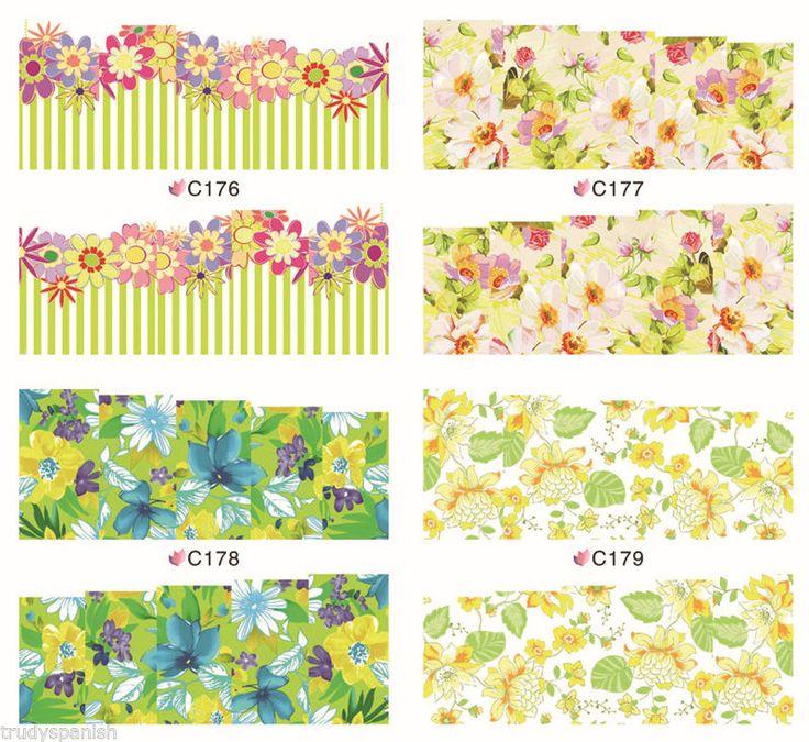 Nail Art Sticker Wasser Abziehbilder Nagel Transfer Wrap Blumen Floral Leopard | eBay