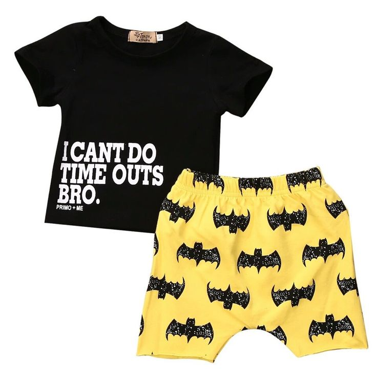 I Cant Do Time Outs Bro. Batman Symbol Cut Off Pant Newborn Baby Boy 2 pc. Set 0/6 mo. Infant Boys Clothes Gifts