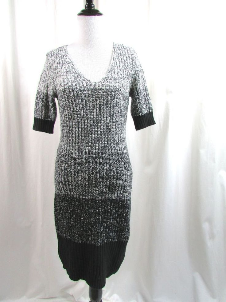 Ann Taylor Ombre Marled Sweater Dress Wool Blend Gray Black Size XS NWT $139…